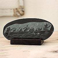 Jade plaque, 'Maya Canoe Journey' - Maya Museum Replica Green Jade Plaque and Stand