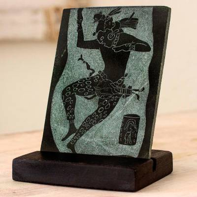 Jade plaque, 'Maya Jaguar Dancer' - Museum Replica Maya Jaguar Dancer Green Jade Plaque