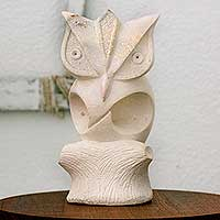 Reconstituted marble statuette, 'Contemporary Owl' - Hand Crafted Marble Statuette of Owl from Nicaragua