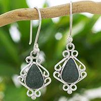 Jade dangle earrings, 'Maya Nostalgia' - Light Green Jade Earrings Hand Crafted with 925 Silver