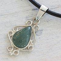 Jade pendant necklace, 'Maya Nostalgia' - Light Green Jade and 925 Silver Pendant on Leather Necklace