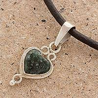 Jade heart necklace, 'Heart of the Maya' - Jade and 925 Sterling Silver Heart on Black Leather Necklace
