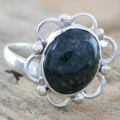 Jade flower ring, 'Spatial Rose' - Sterling Silver Flower Ring with Natural Jade from Guatemala