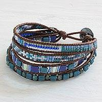 Beaded wristband bracelet, 'Sparkling Moon' - Artisan Crafted Jewelry Beaded Wristband Bracelet in Blue