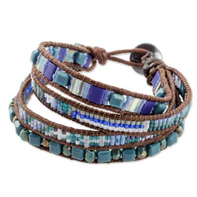 Artisan Crafted Jewelry Beaded Wristband Bracelet in Blue