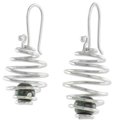 Sterling Silver Honeycomb Earrings with Dark Green Jade