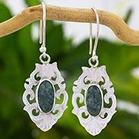 Jade dangle earrings, 'Mirror of Tradition' - Sterling Silver Earrings with Natural Jade from Guatemala