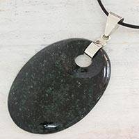 Jade pendant necklace, 'Grand Maya' - Dark Green Jade and Sterling Silver Leather Cord Necklace