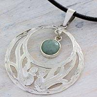 Jade pendant necklace, 'Quetzal Romance' - Handcrafted 925 Silver Jade Quetzal Bird Leather Necklace