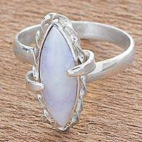 Jade cocktail ring, 'Lilac Delicacy' - Hand Made Lilac Jade Cocktail Ring from Guatemala