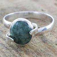 Jade cocktail ring, 'Kaminal Paths' - Artisan Crafted Ring with Natural Jade and Sterling Silver