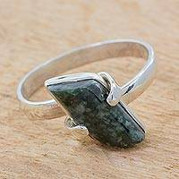 Jade cocktail ring, 'Forest Glory' - Hand Made Jade Sterling Silver Cocktail Ring from Guatemala