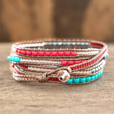 Beaded wrap bracelet, 'Fresh Achiote' - Red Brown Wrap Bracelet from Artisan Crafted Beaded Jewelry