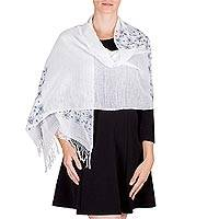 Cotton shawl, 'Planting Our Maize' - Backstrap Loom Woven White and Dark Green Cotton Shawl