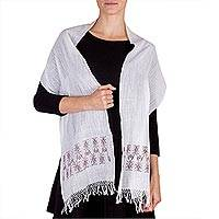 Cotton scarf, 'Memories in Brown' - Backstrap Loom White Cotton Scarf with Brown Motifs