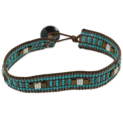 Handcrafted Turquoise Blue Glass Beaded Guatemalan Wristband Bracelet