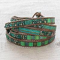 Beaded wrap bracelet, 'Fertile Sierra' - Handmade Turquoise Color Iridescent Gold Wrap Bracelet