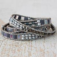Beaded wrap bracelet, 'Nocturnal Sierra'
