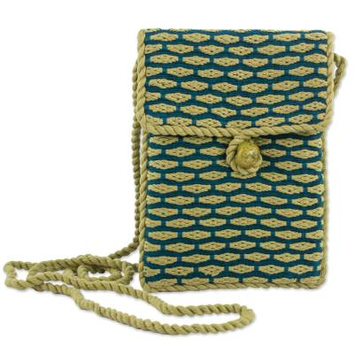 100% Cotton Hand Woven Sling Bag in Teal and Gold