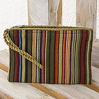 Cotton wristlet, 'Rainbow Stripes' - Hand Woven 100% Cotton Colorful Striped Wristlet