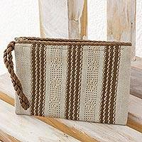 Cotton wristlet, 'Ivory Casual' - Hand Woven Ivory and Brown 100% Cotton Wristlet Bag