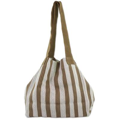 100% Cotton Handmade Ivory and Brown Striped Tote