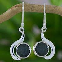 Jade dangle earrings, 'Forest Lights' - Modern Dangle Earrings in Silver 925 with Green Jade