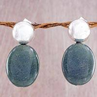 Jade drop earrings 'Green Maya Coronation' - Contemporary Handcrafted Jade and Silver Drop Earrings