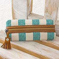Leather accent cotton cosmetic bag, 'Aqua Sea' - Leather Accent Handwoven Striped Cotton Cosmetic Bag