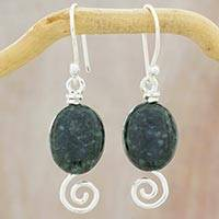 Jade dangle earrings, 'Dark Maya Galaxy' - Sterling Silver Spiral Theme Earrings with Dark Green Jade
