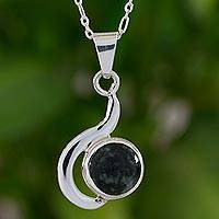 Jade pendant necklace, 'Dark Forest Lights' - Modern Pendant Necklace in Silver 925 with Dark Green Jade