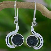 Jade dangle earrings, 'Dark Forest Lights' - Guatemalan Dark Green Jade Dangle Earrings in Silver 925