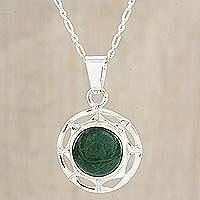 Jade pendant necklace, 'Kinich Ahau' - Modern Pendant Necklace in Silver 925 with Green Jade