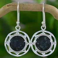 Jade dangle earrings, 'Dark Kinich Ahau' - Guatemalan Dark Green Maya Jade Sun Theme Silver Earrings