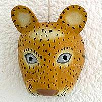 Wood wall mask, 'Royal Maya Jaguar' - Guatemala Artisan Carved and Painted Pinewood Jaguar Mask