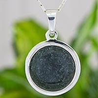 Jade pendant necklace, 'Dark Green Princess Coronation' - Dark Green Maya Jade Modern Silver Artisan Necklace