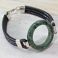 Jade and leather cord bracelet, 'Jade Mystery' - Hand Crafted Jade and Leather Cord Bracelet from Guatemala