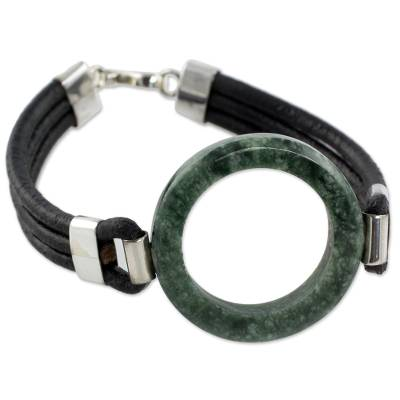 Hand Crafted Jade and Leather Cord Bracelet from Guatemala