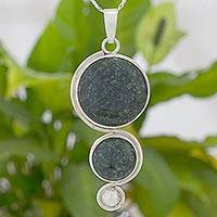 Jade and sterling silver pendant necklace, Harvest Circles