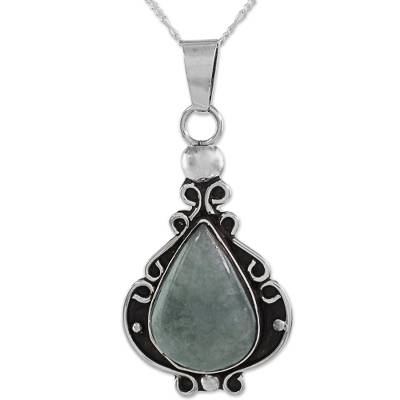 Artisan Crafted Jade and Sterling Silver Pendant Necklace