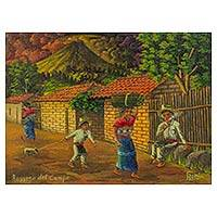 'Returning from the Fields' - Guatemala Village Life Signed Limited Edition Painting