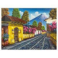 'Calle de las Animas I' - Antigua de Guatemala Signed Painting Limited Edition