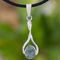 Jade and sterling silver pendant necklace,