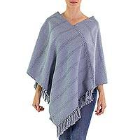 Cotton poncho, 'Blue Ixchel Blessings' - Blue Cotton Poncho Handwoven in Guatemala