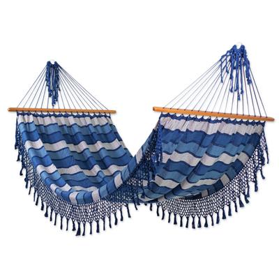 Artisan Handwoven Striped Blue Cotton Hammock (Single)