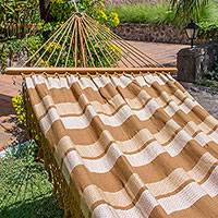 Cotton hammock, 'Playa Dorada' (single) - Golden Brown Cotton Handwoven Hammock (Single)