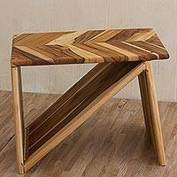 Teak folding stool, 'Natural Aura' - Artisan Crafted Natural Teakwood Modern Folding Stool