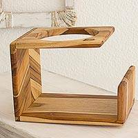 Teak plant stand, 'Forest Garden' - Artisan Crafted Natural Teakwood Modern Plant Stand