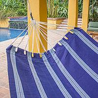 Cotton hammock, 'Song of the Sea' (single) - Navy Blue Handwoven Single Cotton Guatemalan Hammock