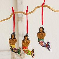 Ceramic ornaments, 'Mermaid Goddesses' (set of 6) - Set of 6 Ceramic Mermaid Ornaments Hand Crafted in Guatemala